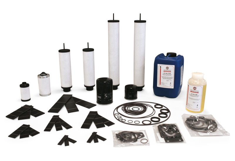 Lubricated vacuum pump accessories and spare parts