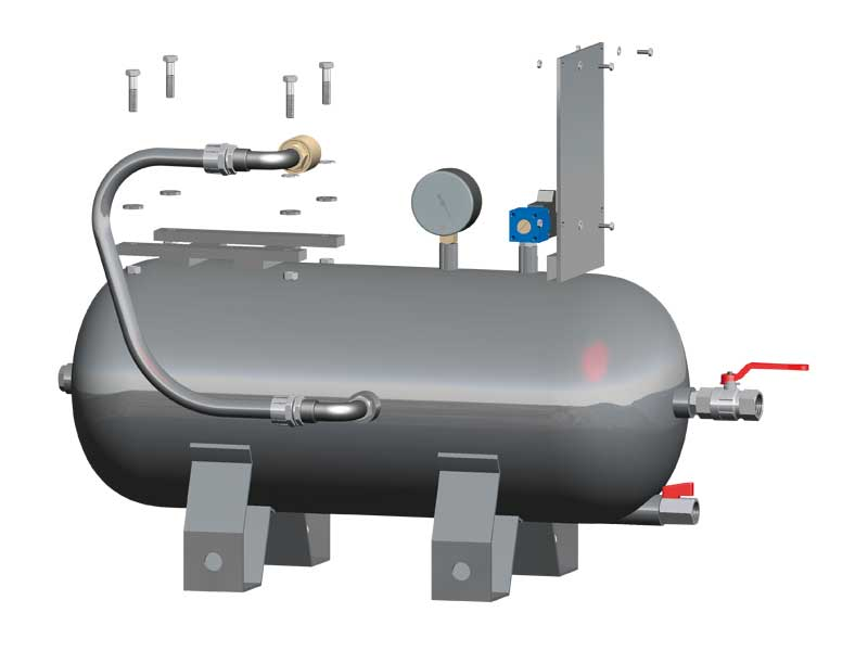 Tanks for horizontal pumpsets with one vacuum pump