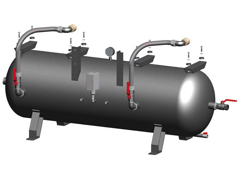 Tanks for horizontal pumpsets with two vacuum pumps