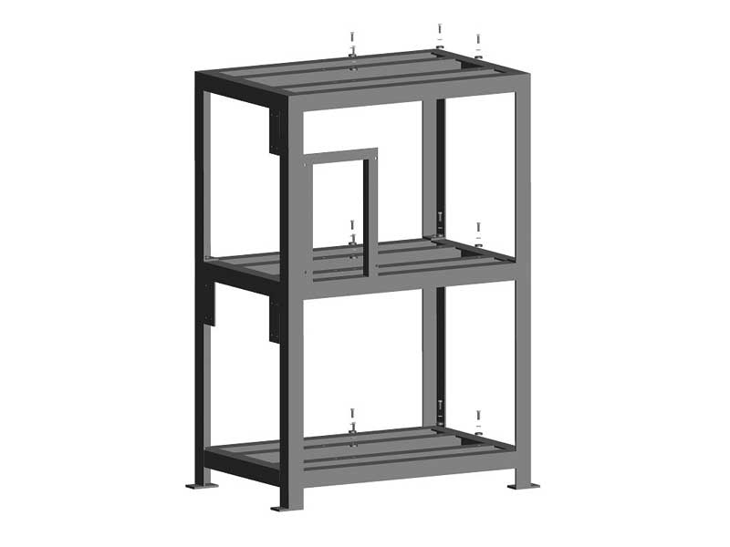 Support frames for three vacuum pumps