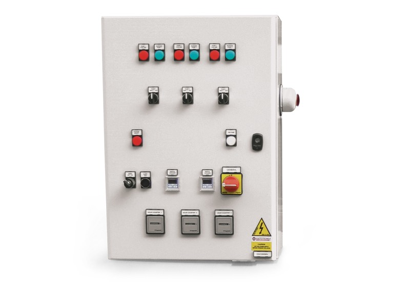 Switchgear for safety pump sets with three pumps