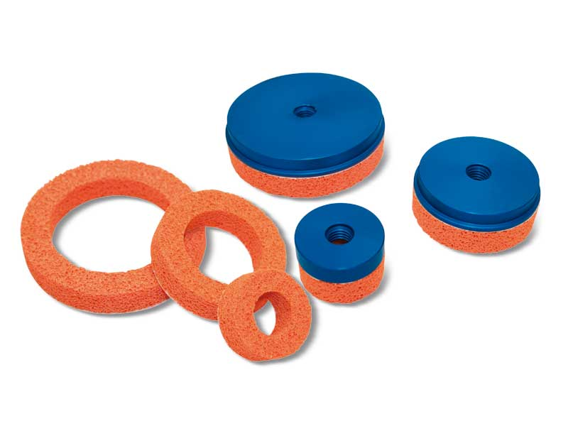 Round flat foam rubber vacuum cups with supports