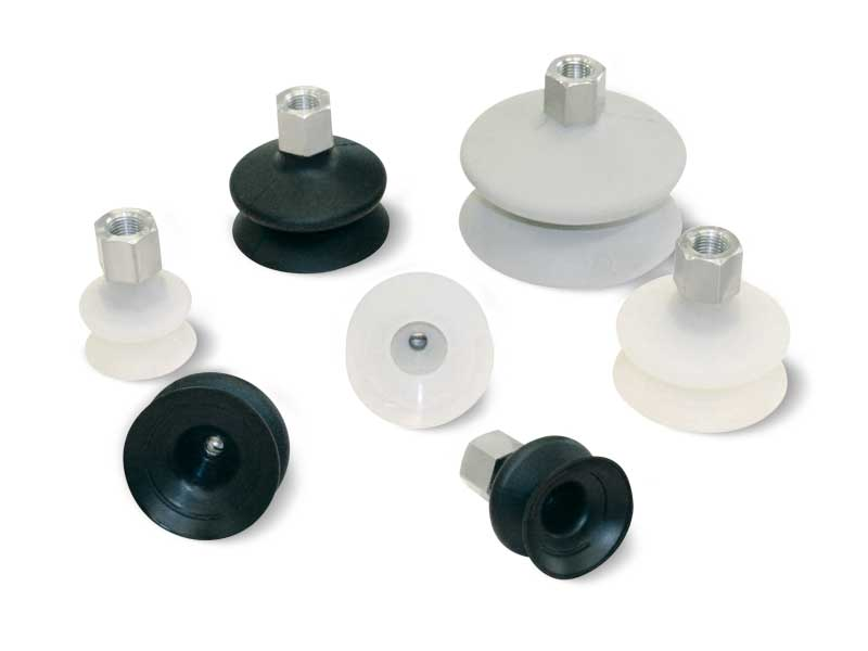 Vacuum cups with one bellow and with vulcanised support