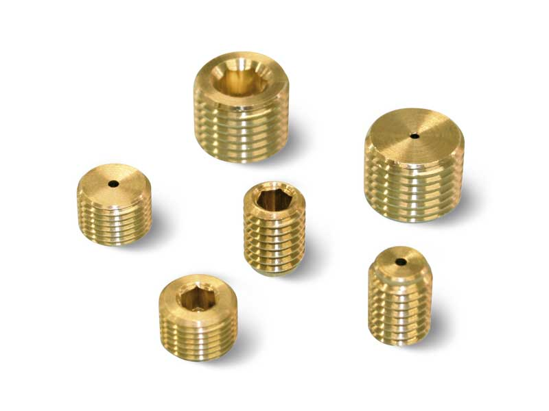 Threaded grub screws with calibrated hole
