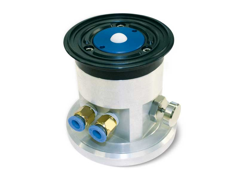 Round vacuum cups with ball valve, self-locking support and release button, for glass